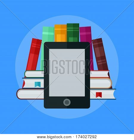 E-book concept. University Computer Classroom. Online Education and Library with Students. Flat vector 3d illustration.