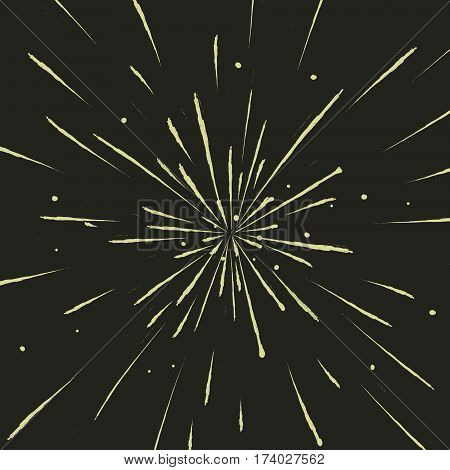 view to meteor rain or explosion of firework . vector illustration