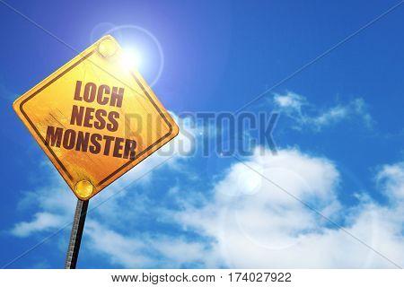loch ness monster, 3D rendering, traffic sign