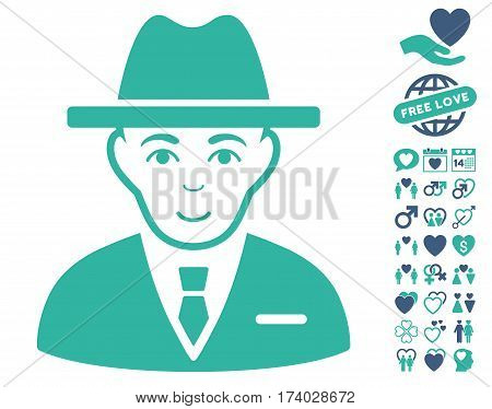 Agent pictograph with bonus marriage pictograms. Vector illustration style is flat iconic cobalt and cyan symbols on white background.