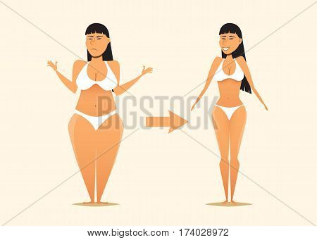 Fat and skinny asian woman before and after the diet.Cartoon vector illustration. Fitness theme and weight loss