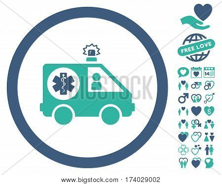 Ambulance Car pictograph with bonus amour pictograph collection. Vector illustration style is flat iconic cobalt and cyan symbols on white background.