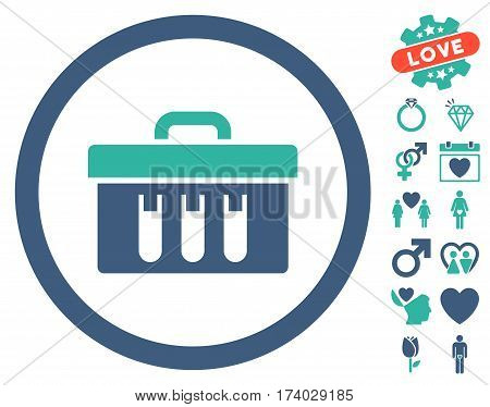Analysis Box pictograph with bonus decorative pictograms. Vector illustration style is flat iconic cobalt and cyan symbols on white background.