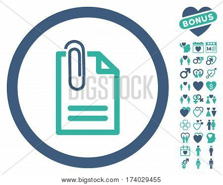 Attach Document icon with bonus dating graphic icons. Vector illustration style is flat iconic cobalt and cyan symbols on white background.