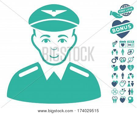 Aviator pictograph with bonus valentine icon set. Vector illustration style is flat iconic cobalt and cyan symbols on white background.