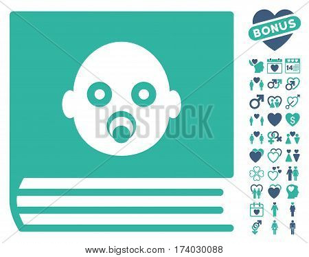 Baby Album icon with bonus romantic graphic icons. Vector illustration style is flat iconic cobalt and cyan symbols on white background.