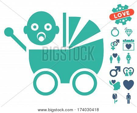 Baby Carriage pictograph with bonus decorative clip art. Vector illustration style is flat iconic cobalt and cyan symbols on white background.