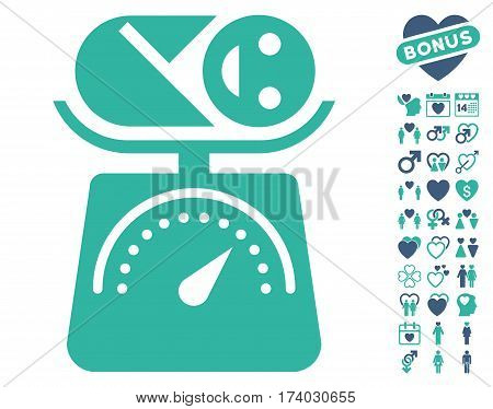 Baby Weight icon with bonus lovely icon set. Vector illustration style is flat iconic cobalt and cyan symbols on white background.