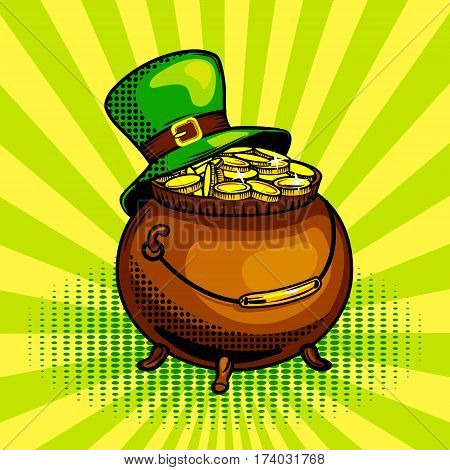 Pot of gold pop art hand drawn vector illustration. St Patrick day symbol