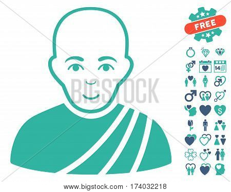 Buddhist Monk pictograph with bonus decorative pictograms. Vector illustration style is flat iconic cobalt and cyan symbols on white background.