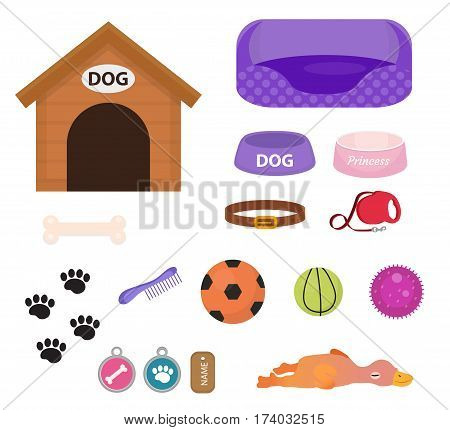 Dogs stuff icon set with accessories for pets, flat style, isolated on white background. Puppy toy. Doghouse, collar, food. Pet shop concept. Vector illustration, clip art