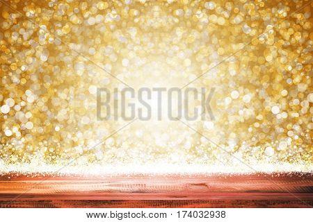 empty wooden on golden lighting backdrop. christmas light background