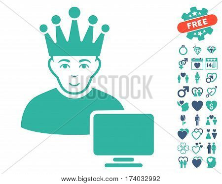 Computer Moderator icon with bonus marriage pictograph collection. Vector illustration style is flat iconic cobalt and cyan symbols on white background.