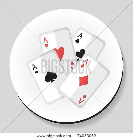 Playing Cards 4 Aces sticker icon flat style. Vector illustration