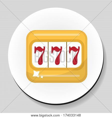 The one-armed bandit sticker icon flat style. Vector illustration