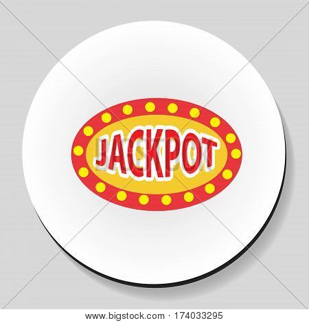 Jackpot winnings inscription sticker icon flat style. Vector illustration