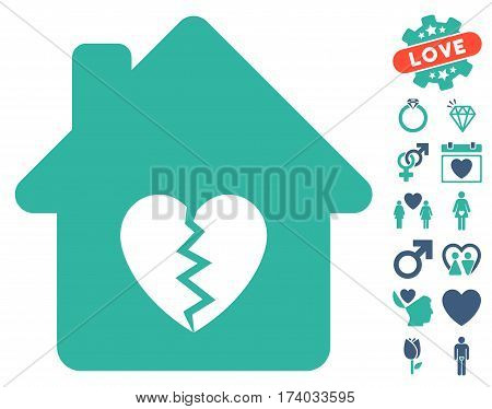 Divorce House Heart icon with bonus romantic pictures. Vector illustration style is flat iconic cobalt and cyan symbols on white background.
