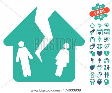 Divorce House pictograph with bonus lovely images. Vector illustration style is flat iconic cobalt and cyan symbols on white background.