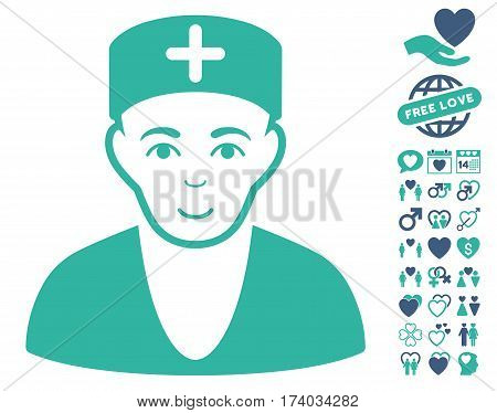 Doctor pictograph with bonus love pictograph collection. Vector illustration style is flat iconic cobalt and cyan symbols on white background.
