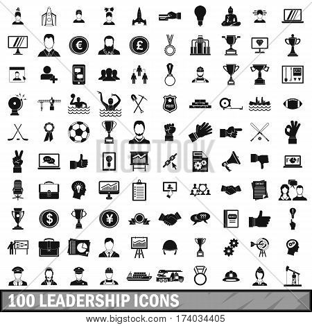 100 leadership icons set in simple style for any design vector illustration
