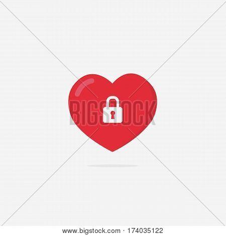 Locked Heart Illustration. Flat Love Shape with Lock Sign