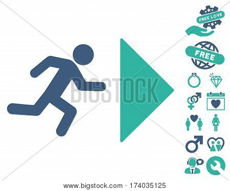 Exit Direction pictograph with bonus marriage pictograph collection. Vector illustration style is flat iconic cobalt and cyan symbols on white background.