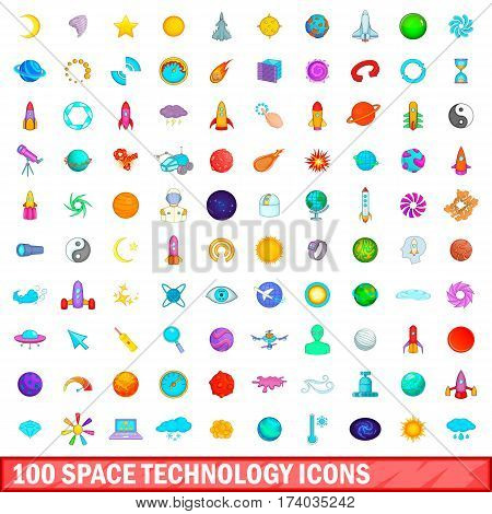 100 space technology icons set in cartoon style for any design vector illustration