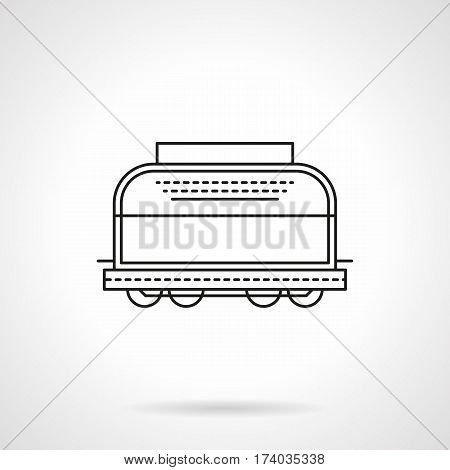 Symbol of covered wagon for transportation of perishable goods at lower temperatures. Refrigerated railroad car. Flat black line vector icon.