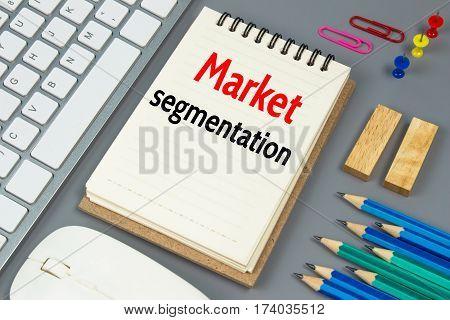 Market segmentation, Text message on white paper