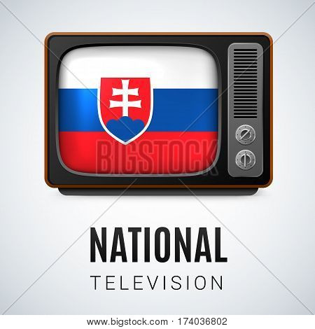 Vintage TV and Flag of Slovakia as Symbol National Television. Tele Receiver with Slovak flag
