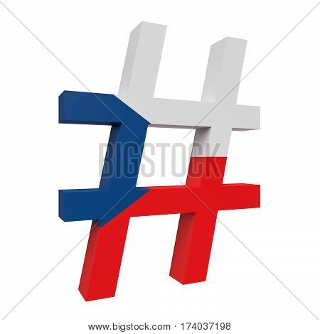 3d Czech Republic Flag Hash Tag Sign Isolated On White Background 3d illustration