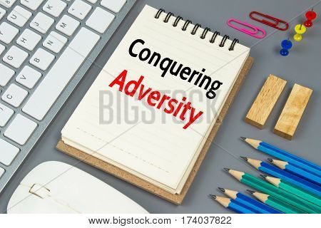 Conquering adversity, Text message on white paper