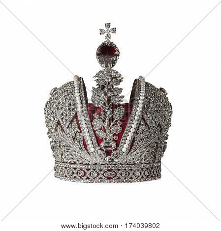 Silver crown with jewels isolated on white.