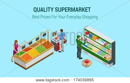 Women and man shopping vegetables and fruits in supermarket. People in supermarket interior design. Best choice. Fresh food. Quality service