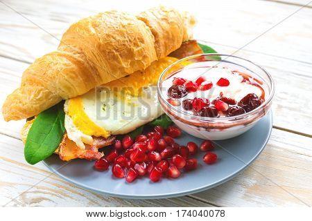 Fresh Croissant Sandwich, Homemade Yogurt, Pomegranate For Breakfast