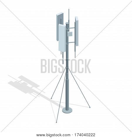 Isometric Telecommunications towers. A mobile phone communication repeater antenna vector flat illustration