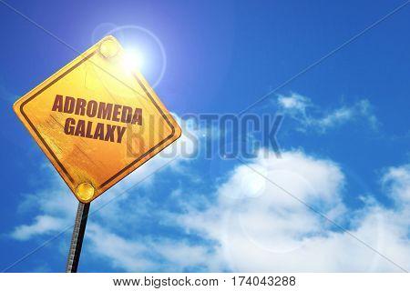 andromeda galaxy, 3D rendering, traffic sign