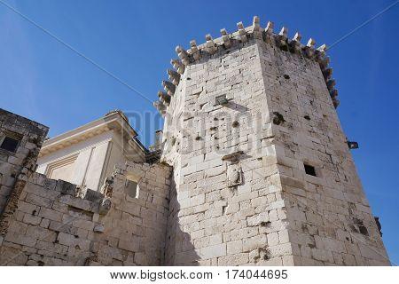 Octagonal Venetian tower in square of Radic brothers in Split, Croatia