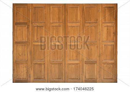 wood door isolated on white background object fordesign