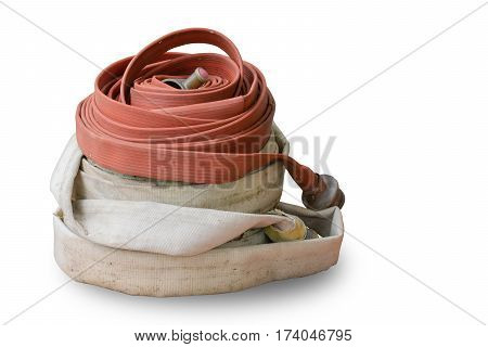 Old firehose isolated on white background Clipping path
