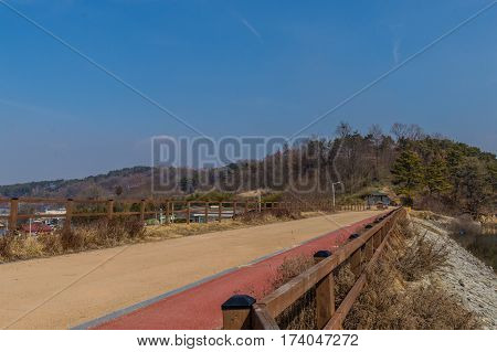 Lakeside pedestrian walkway with wooden fence with evergreen trees and a soft blue sky in the background