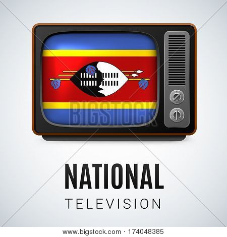 Vintage TV and Flag of Swaziland as Symbol National Television. Tele Receiver with Swazi flag