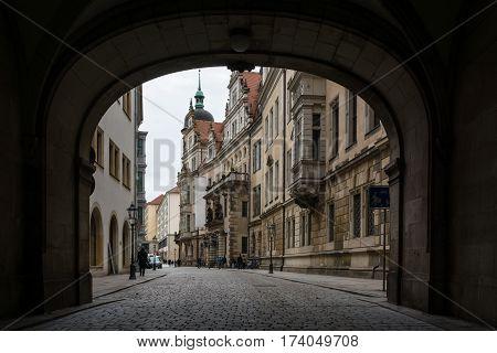 Dresden Residenzhof Castle Archway Courtyard Medeival Interior Architecture Tourism