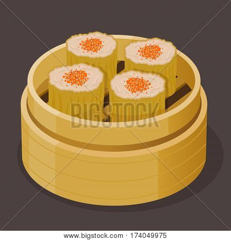 Vector stock of Chinese dim sum steamed shumai with fish roe on bamboo basket