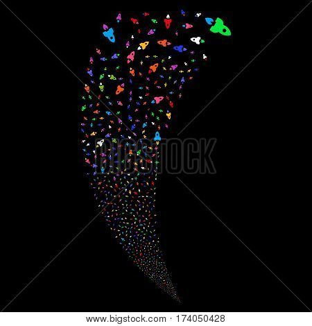 Space Rocket random fireworks stream. Vector illustration style is flat bright multicolored iconic symbols on a black background. Object fountain organized from scattered icons.