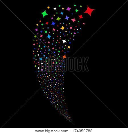 Sparcle Star random fireworks stream. Vector illustration style is flat bright multicolored iconic symbols on a black background. Object fountain organized from scattered symbols.