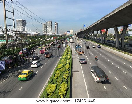 16 November 2016 , Bangna road in Samut Prakan at Thailand