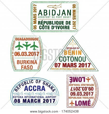 Stylised African passport stamps in vector format.