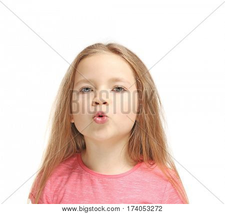 Little girl training pronounce letters    on white background