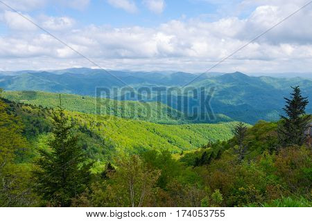 View of Appalachian Mountains from Roan Mountain in North Carolina